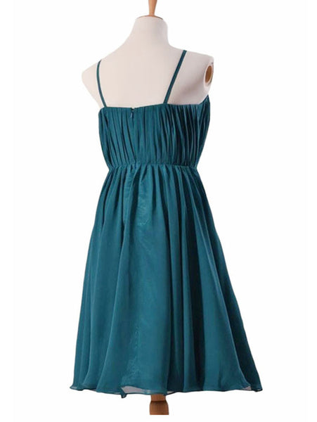 Elegant A-line V-neck Long Chiffon White Bridesmaid Dress #BN0018