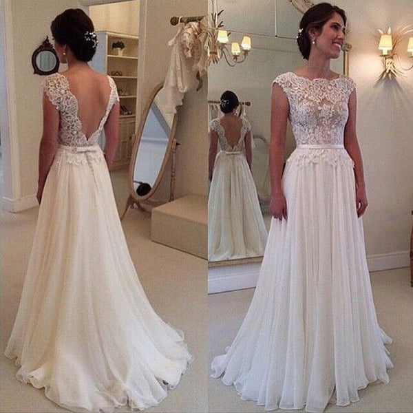 Ivory Lace Chiffon Backless Cap Sleeves Beach Bridal Wedding Dress LD141