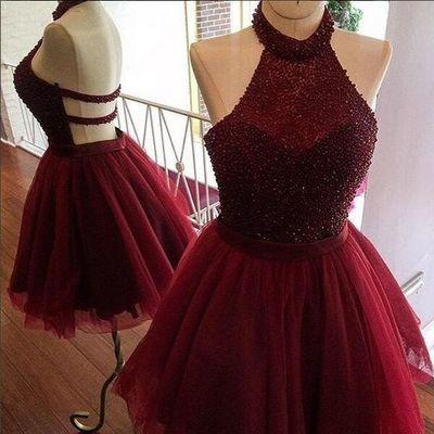 Burgundy Tulle Halter Beaded Open Back Short Prom Homecoming Dresses Party Dress #H048