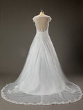 Cap Sleeves White Lace See Through Wedding Gown Dresses #HS0031