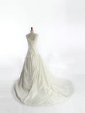 V Neck Off the Shoulder Elegant Long Wedding Dress #HS0047