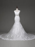 Elegant Mermaid Backless Beaded Sash Wedding Dress for Brides HS0072
