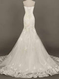 Elegant Sexy Mermaid Wedding Dresses Pleat Appliques Beads Lace Organza Evening Bride Wedding Dress #HS0085