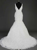 2016 XCOS Dress Handmade  Mermaid V-neck Long Wedding Dresses #HS0087
