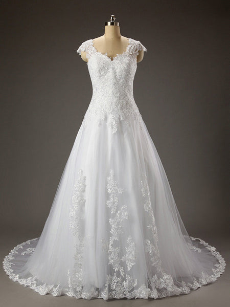 Elegant Off-shoulder Beading Sash Long Chiffon Wedding Dress #HS0089