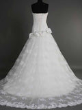 Elegant Sweetheart Lace Appliques Ivory Mermaid Wedding Dresses Bride Gowns #HS0111