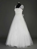 A Line Floor Length Bridal Gown Long Chiffon Wedding Dresses #HS0134