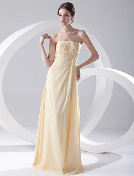 Strapless Chiffon Floor Length Bridesmaid Dress #B024