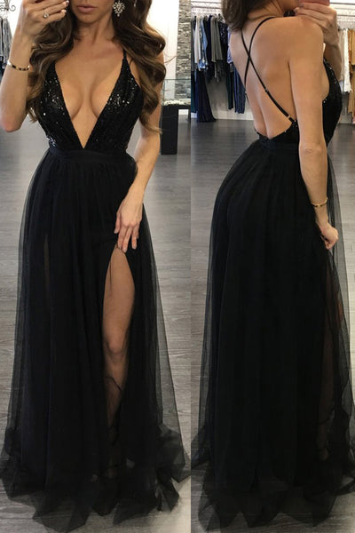 Discount ! Deep V Neck Black Sequin Backless Cheap Prom Dresses Evening Formal Dress K0169