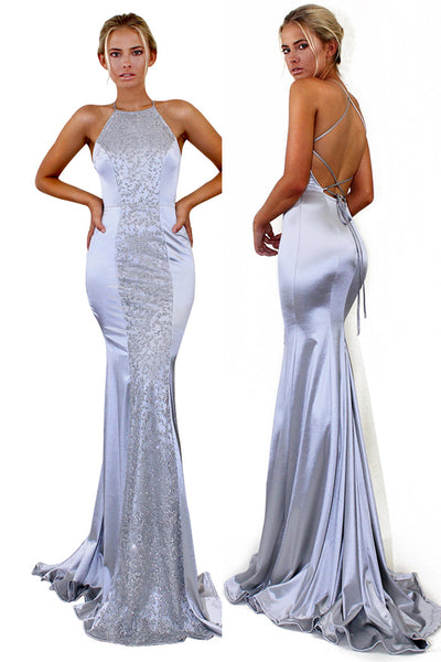 Discount ! Open Back Silver Grey Spaghetti Straps Cheap Mermaid Prom Dresses Formal Dress K0436