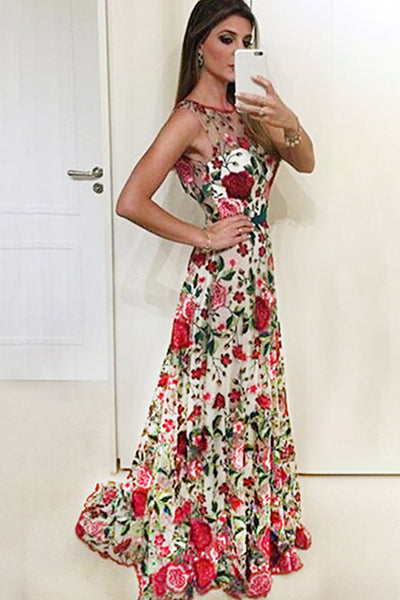 Discount ! Red Embroidery Open Back Cheap Prom Dresses Formal Evening Dress K1078