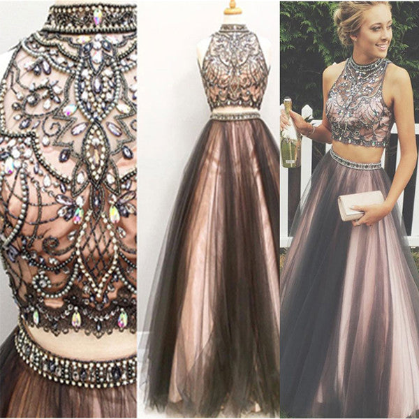 2 Pieces High Neck Black Pink  Long Prom Dress Evening Gowns LD002