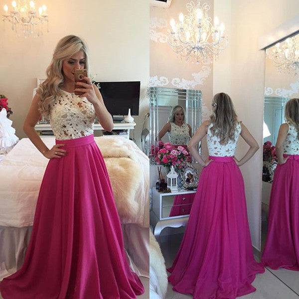 A Line White Lace High Neck Prom Dresses Evening Gown LD006