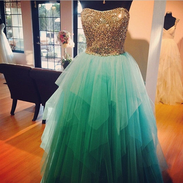 Gold Beads Turquoise High Low Ball Gown Evening Prom Dress LD008