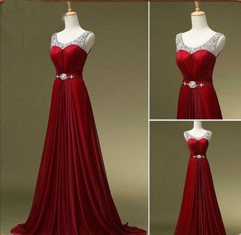Burgundy Off The Shoulder Beaded Prom Dresses Evening Gowns LD009