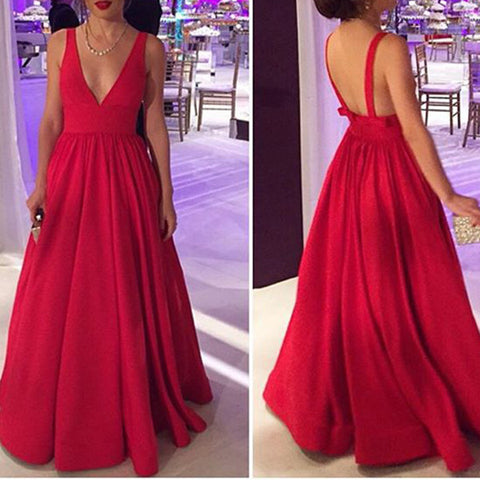 Off the Shoulder Deep V Neck Open Back Red Evening Prom Dress LD012