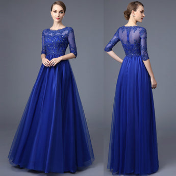 Half Long Sleeves Royal Blue Lace Mother of the Bride Dress Prom LD015
