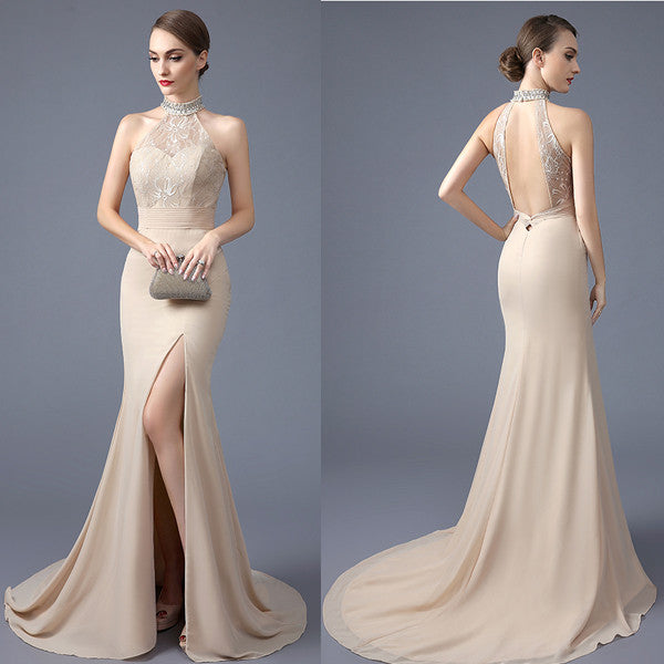 Backless High Neck Front Slit Lace Mermaid Evening Prom Dresses LD016