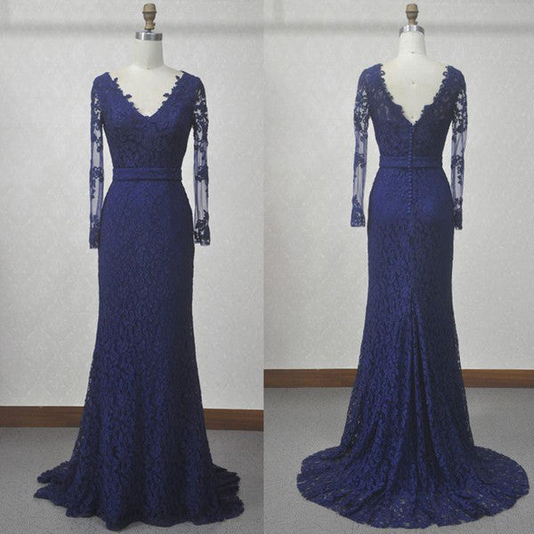 Long Sleeves Navy Blue Lace Mermaid Evening Dresses Prom LD018
