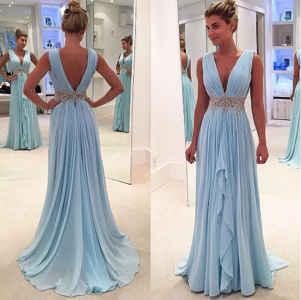 Light Blue Chiffon V Neck High Low Evening Dress Prom Gowns LD019
