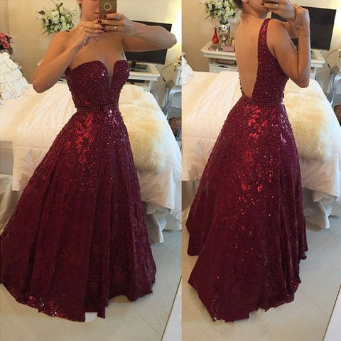 Backless Burgundy Lace Beaded Ball Gown Evening Prom Dresses LD020