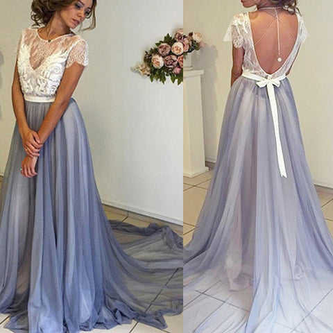 White Lace Cap Sleeves Backless Long Evening Gowns Prom Dress LD021