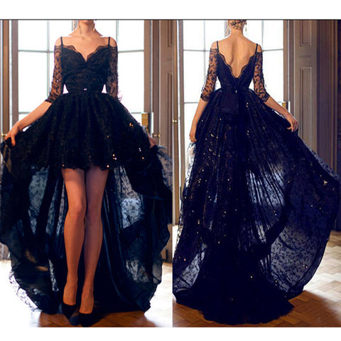 d3473bf1d76 Navy Blue Lace High Low Skirt 3 4 Long Sleeves Prom Dress LD022 –  Laurafashionshop