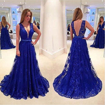Royal Blue Lace Deep V Neck Sexy Evening Gowns Prom Dresses LD023