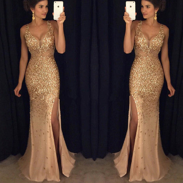 V Neck Off the Shoulder Gold Slit Mermaid Evening Prom Dresses LD024