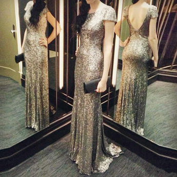 Cap Sleeves Shiny Sequim Mermaid Backless Long Prom Dresses LD025