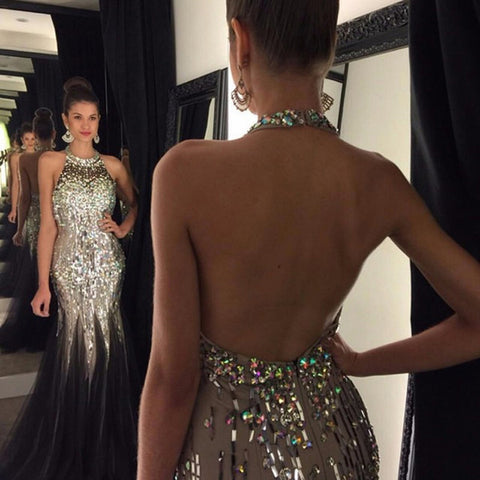 Black Shiny Sequim High Neck Mermaid Open Back Prom Dresses LD026
