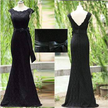 Black Lace Mermaid Back V Elegant Long Evening Prom Dresses LD027