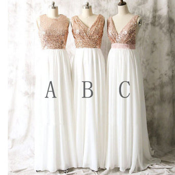 Rose Gold Sequin Ivory Long Bridesmaid Dresses Prom Gowns LD028
