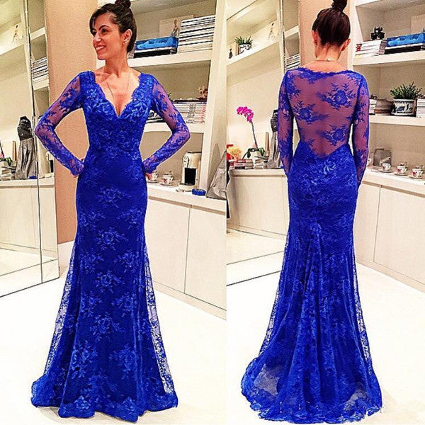 Royal Blue Lace Long Sleeves V Neck Mermaid Long Prom Dresses LD030