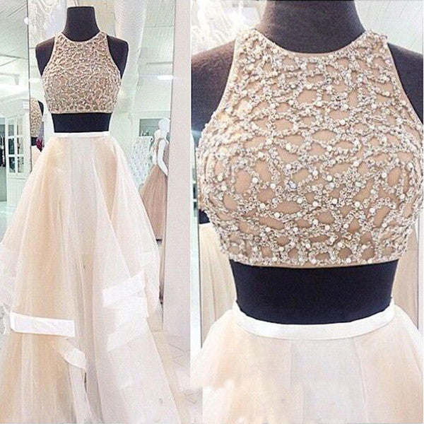 High Low Tiered Skirt 2 Pieces Beaded Prom Dresses Evening Gowns LD031