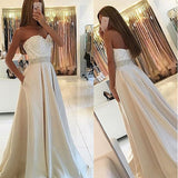 A Line Empire Waist Lace Long Evening Prom Dresses With Pocket LD032