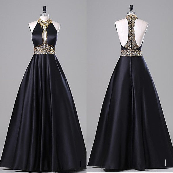Empire Ball Gown Wedding Dresses: Empire Waist Black Ball Gown Backless Long Evening Prom
