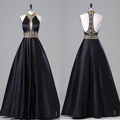 Empire Waist Black Ball Gown Backless Prom Dresses,Halter Sexy Evening Dress, Graduation Dress LD033