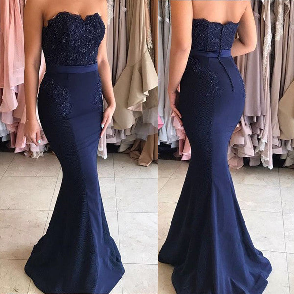 Mermaid Dark Blue Lace Long Prom Dresses Wedding Bridesmaid Dress LD034