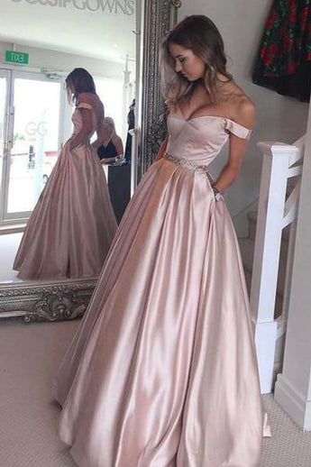 Blush Pink V Back Long Ball Gown Prom Dresses Graduation Dress LD036