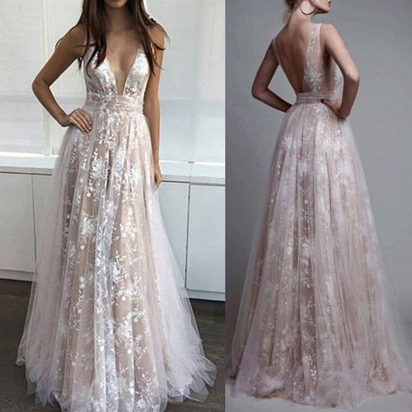 Ivory Lace Deep V Neck Backless Long Prom Dresses Evening Gowns Party Dress LD037