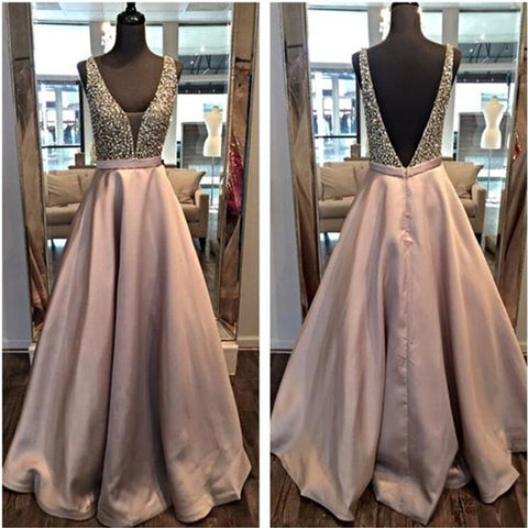 Off the Shoulder Deep V Neck Backless Prom Dresses,Open Back Long Evening Dress Prom Gowns,Beaded Back V Graduation Dresses LD039