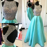 High Neck Backless Mint Ball Gown Prom Dresses,Open Back Long Evening Gowns Prom Dress,Beaded Graduation Dress LD040