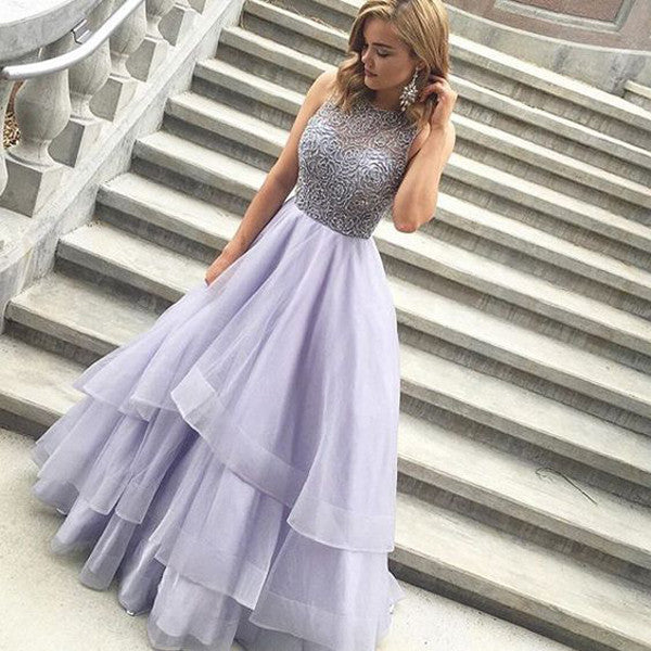 Fashion High Neck Lavender Tiered  Prom Dresses Evening Gowns LD041