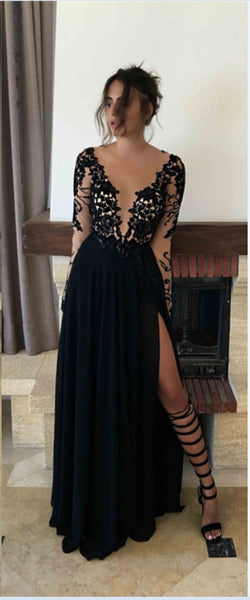 Black Lace Slit Sexy Long Prom Dresses,Long Sleeves Deep V Neck Evening Formal Women Dress LD042