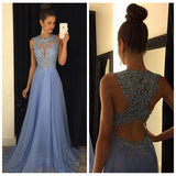 Lavender Lace High Neck Backless Long Evening Prom Dresses Formal Women Dress LD043