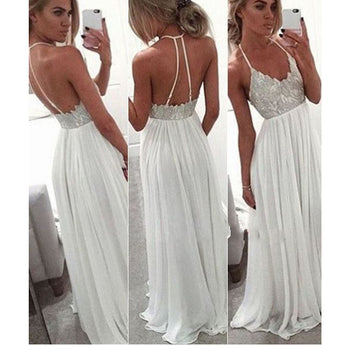 A Line White Lace Backless Halter Prom Dresses Evening Gowns LD044