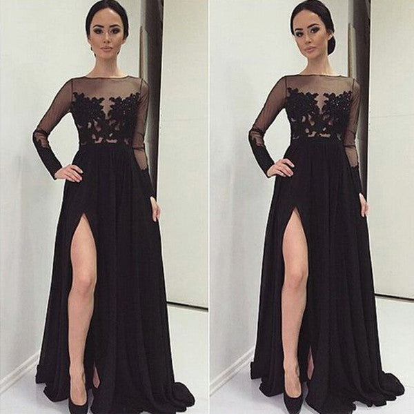 Black Lace Long Sleeves Front Slit Prom Dresses Evening Gowns LD047