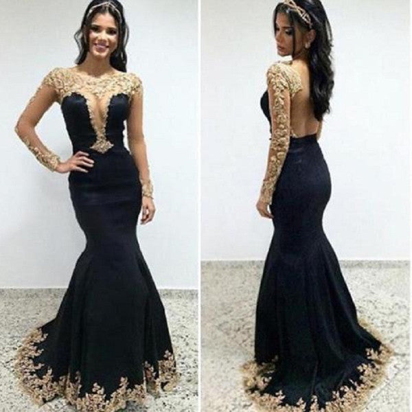 Long Sleeves Mermaid Gold Lace Black Backless Evening Gowns Prom Dresses LD049