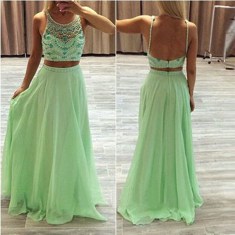 Two Piece Spaghetti Straps Mint Chiffon Backless Evening Prom Dresses  LD050